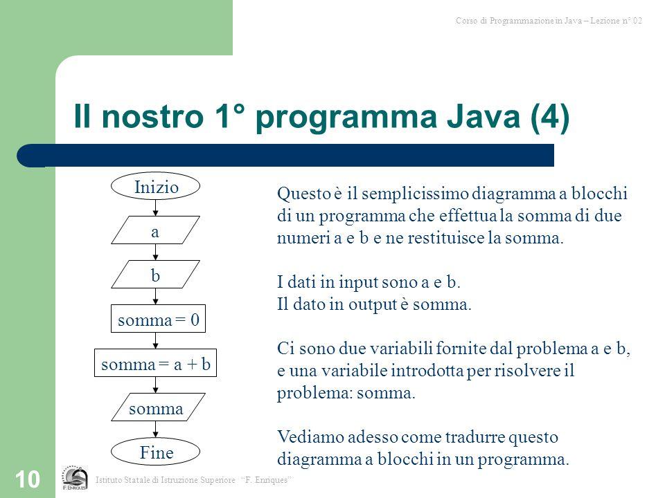 """10 Corso di Programmazione in Java – Lezione n° 02 Istituto Statale di Istruzione Superiore """"F. Enriques"""" Il nostro 1° programma Java (4) Inizio a som"""