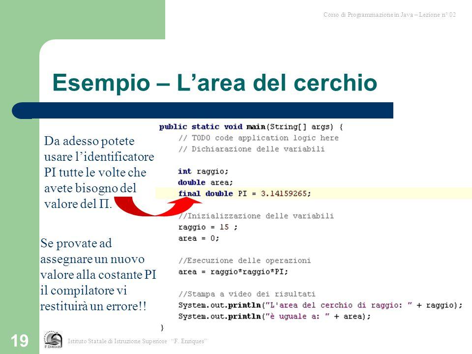 """19 Esempio – L'area del cerchio Corso di Programmazione in Java – Lezione n° 02 Istituto Statale di Istruzione Superiore """"F. Enriques"""" Da adesso potet"""