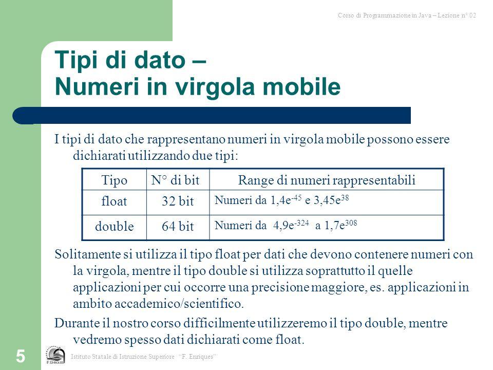 5 Tipi di dato – Numeri in virgola mobile I tipi di dato che rappresentano numeri in virgola mobile possono essere dichiarati utilizzando due tipi: So