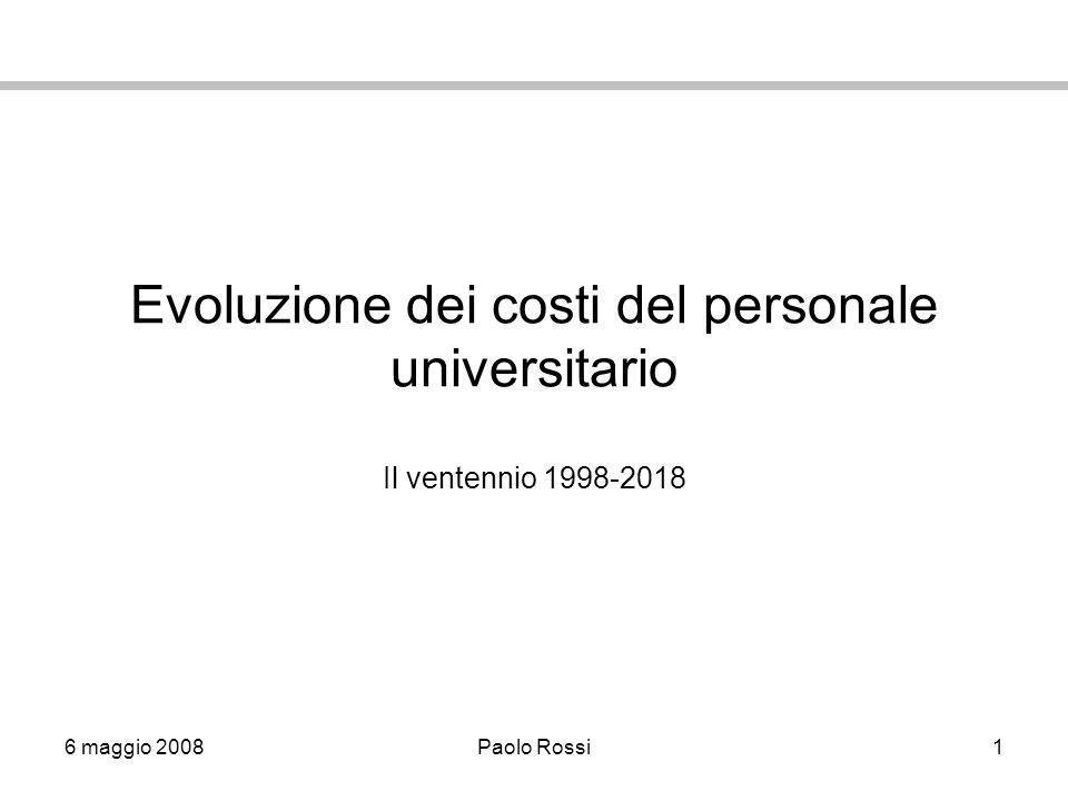 6 maggio 2008Paolo Rossi1 Evoluzione dei costi del personale universitario Il ventennio 1998-2018