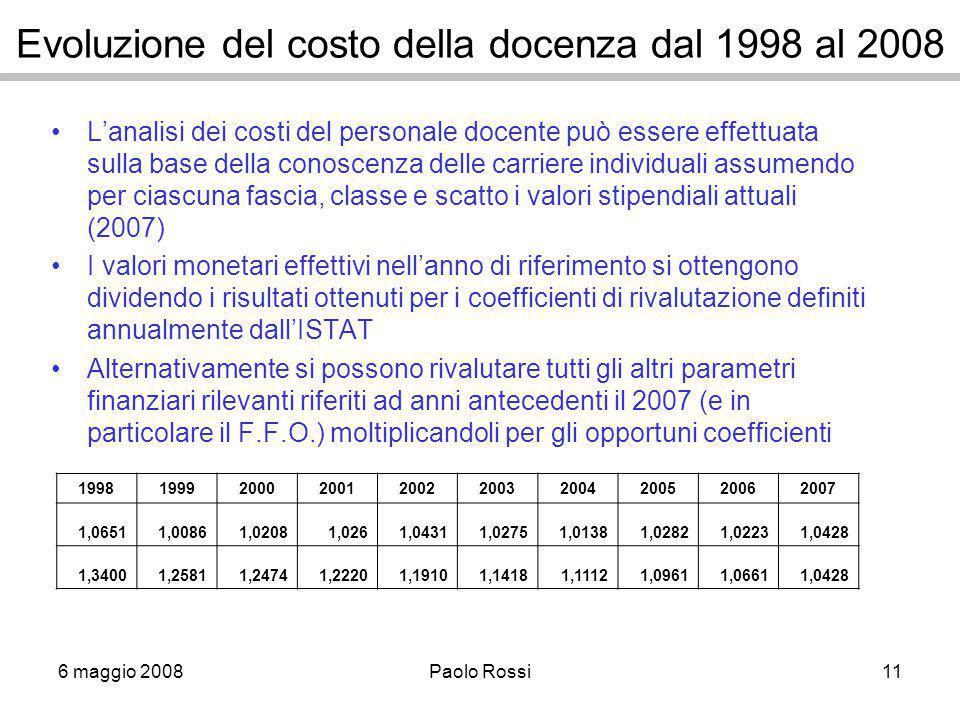 6 maggio 2008Paolo Rossi11 Evoluzione del costo della docenza dal 1998 al 2008 L'analisi dei costi del personale docente può essere effettuata sulla b
