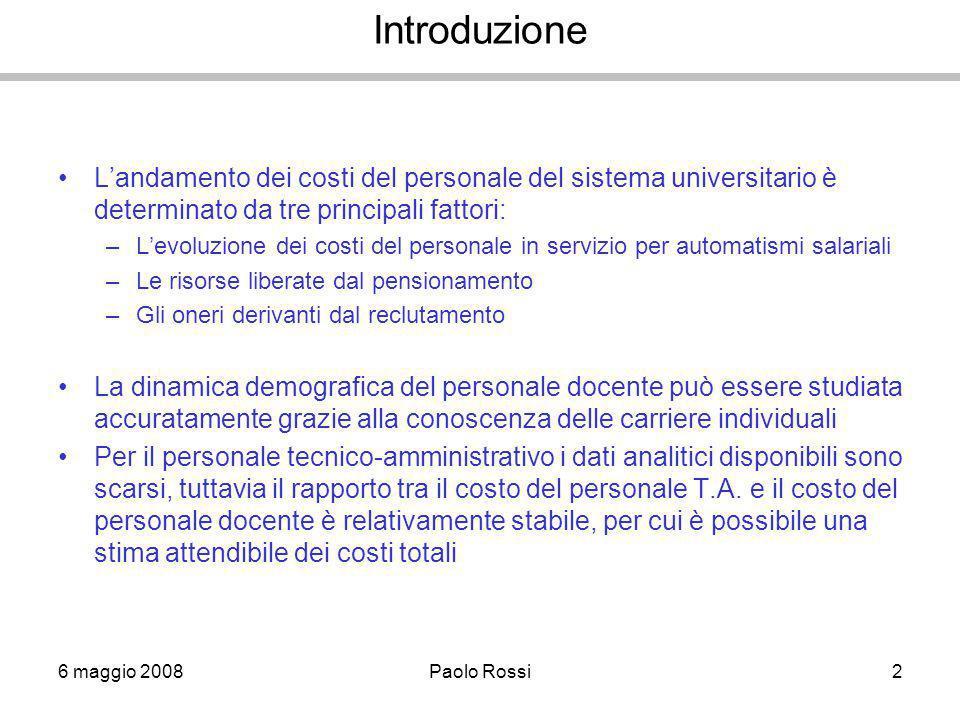 6 maggio 2008Paolo Rossi2 Introduzione L'andamento dei costi del personale del sistema universitario è determinato da tre principali fattori: –L'evolu