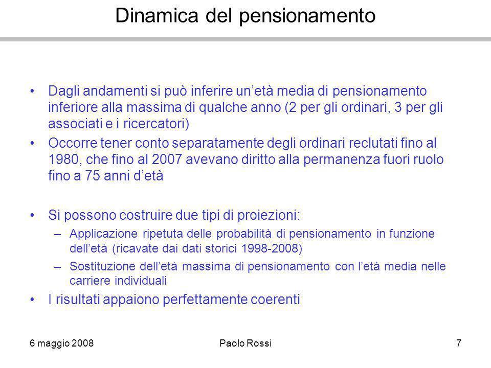 6 maggio 2008Paolo Rossi7 Dinamica del pensionamento Dagli andamenti si può inferire un'età media di pensionamento inferiore alla massima di qualche anno (2 per gli ordinari, 3 per gli associati e i ricercatori) Occorre tener conto separatamente degli ordinari reclutati fino al 1980, che fino al 2007 avevano diritto alla permanenza fuori ruolo fino a 75 anni d'età Si possono costruire due tipi di proiezioni: –Applicazione ripetuta delle probabilità di pensionamento in funzione dell'età (ricavate dai dati storici 1998-2008) –Sostituzione dell'età massima di pensionamento con l'età media nelle carriere individuali I risultati appaiono perfettamente coerenti