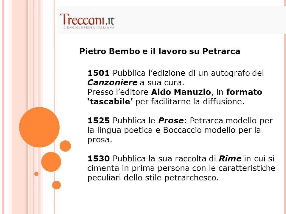 1501 Pubblica l'edizione di un autografo del Canzoniere a sua cura. Presso l'editore Aldo Manuzio, in formato 'tascabile' per facilitarne la diffusion