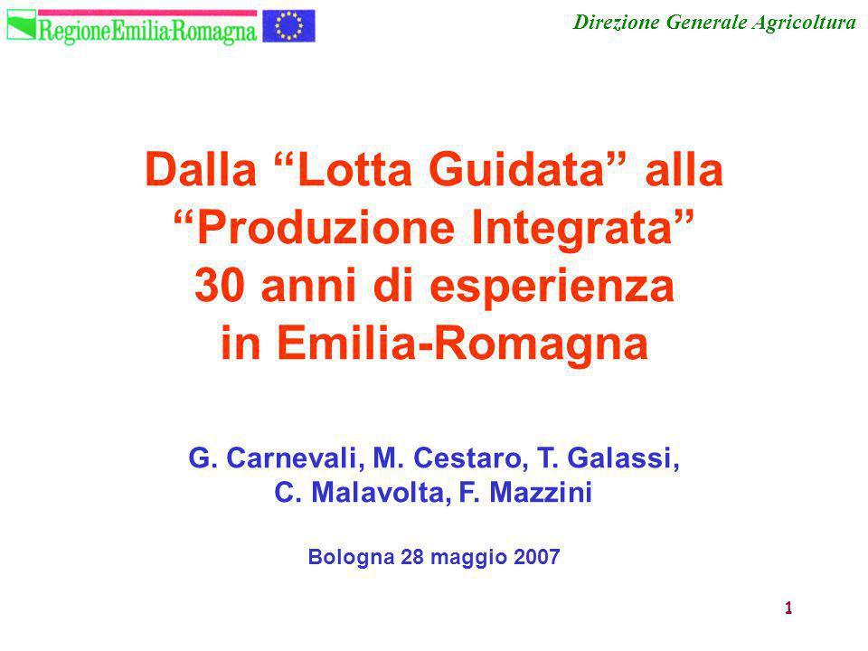 """1 Dalla """"Lotta Guidata"""" alla """"Produzione Integrata"""" 30 anni di esperienza in Emilia-Romagna G. Carnevali, M. Cestaro, T. Galassi, C. Malavolta, F. Maz"""