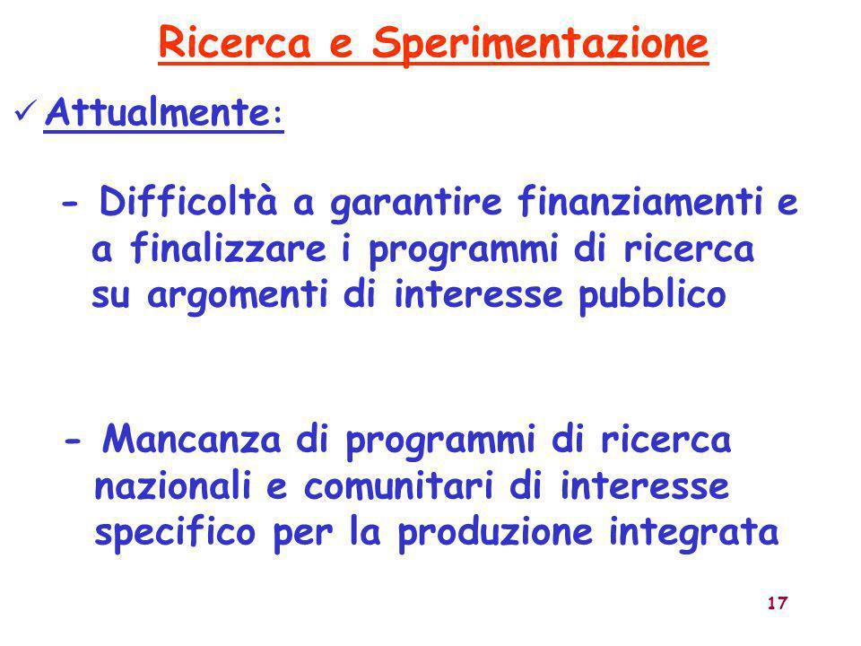 17 Attualmente : - Difficoltà a garantire finanziamenti e a finalizzare i programmi di ricerca su argomenti di interesse pubblico Ricerca e Sperimenta