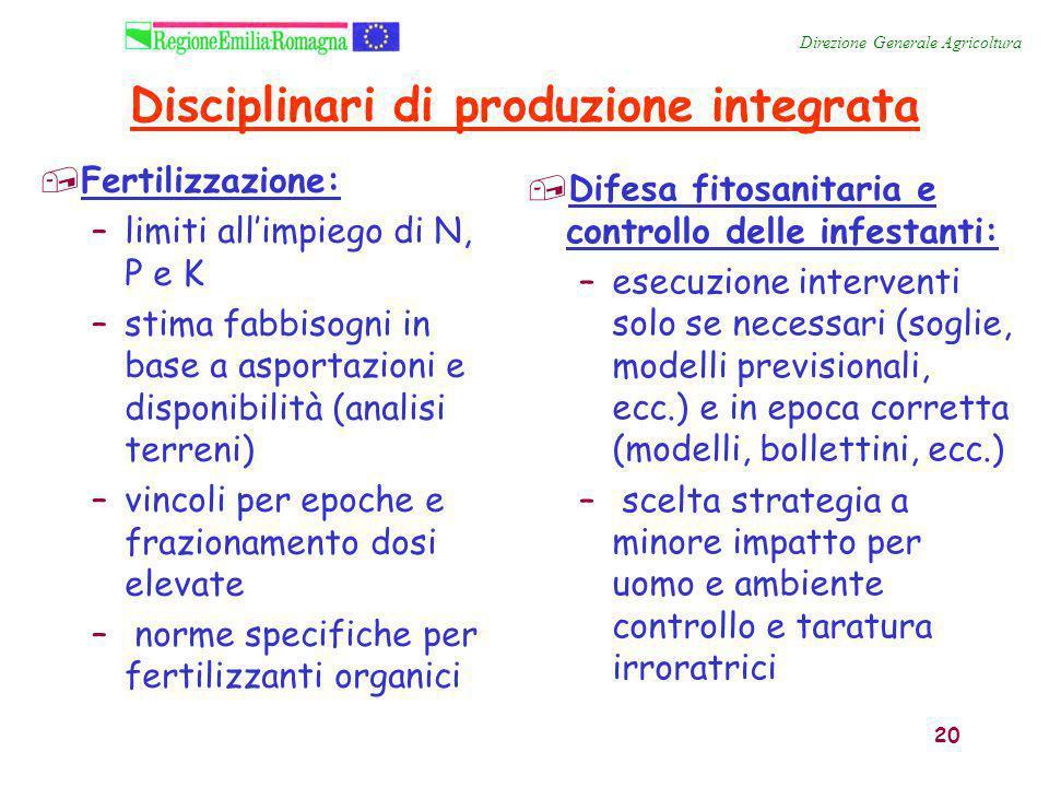 20 Disciplinari di produzione integrata,Fertilizzazione: –limiti all'impiego di N, P e K –stima fabbisogni in base a asportazioni e disponibilità (ana
