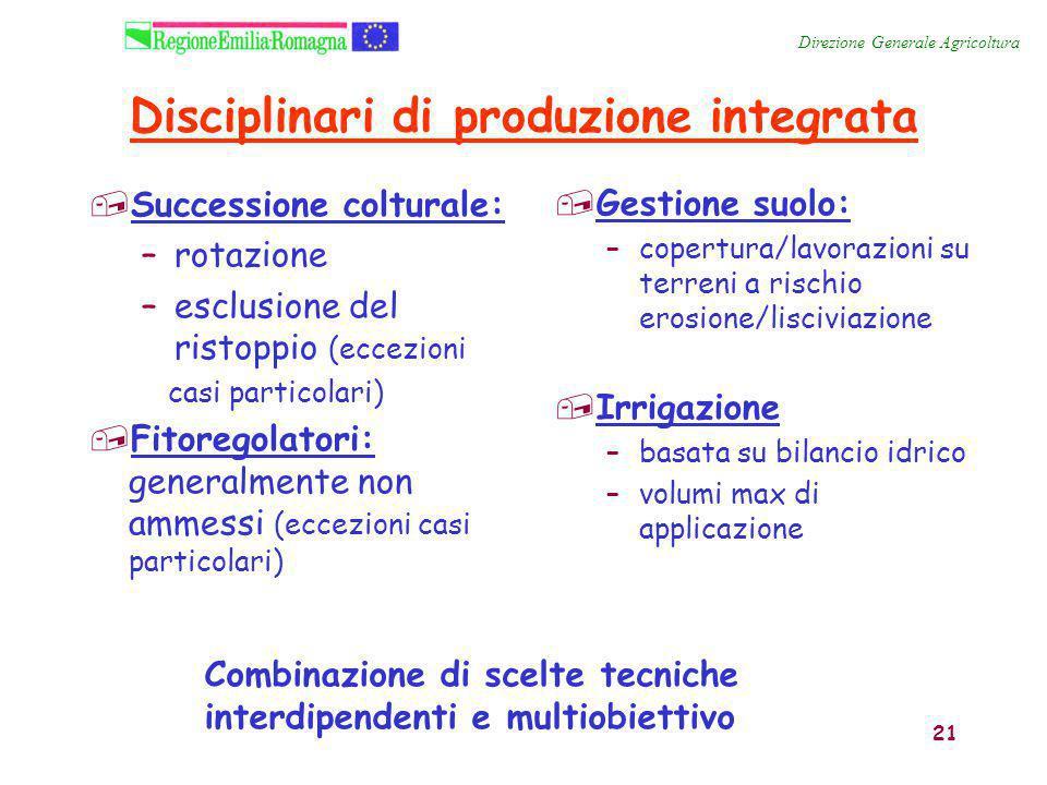 21 Disciplinari di produzione integrata,Successione colturale: –rotazione –esclusione del ristoppio (eccezioni casi particolari),Fitoregolatori: gener
