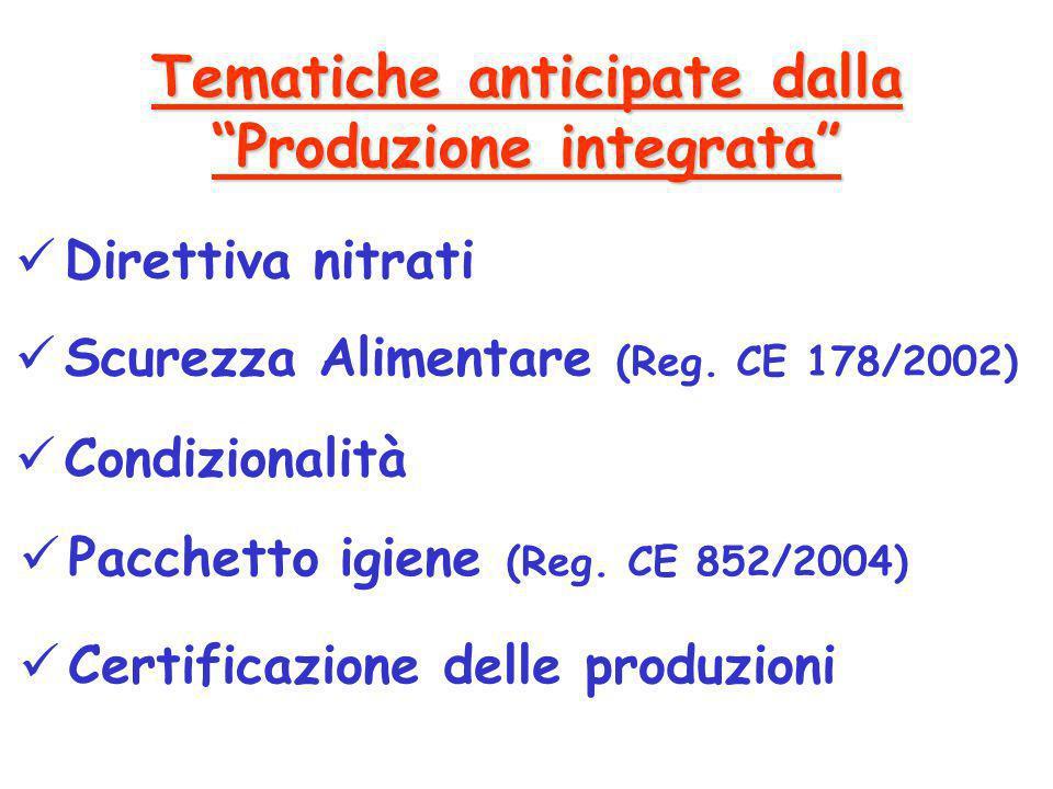 """Tematiche anticipate dalla """"Produzione integrata"""" Direttiva nitrati Scurezza Alimentare (Reg. CE 178/2002) Condizionalità Pacchetto igiene (Reg. CE 85"""