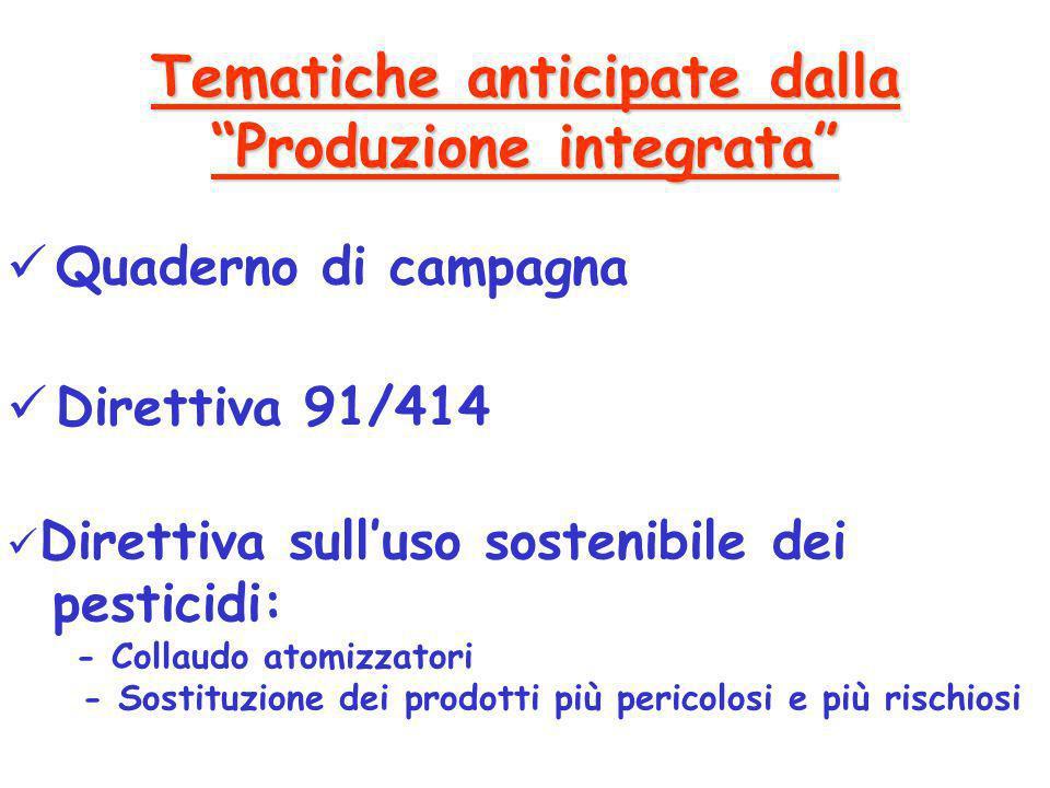 Direttiva sull'uso sostenibile dei pesticidi: - Collaudo atomizzatori - Sostituzione dei prodotti più pericolosi e più rischiosi Direttiva 91/414 Quad