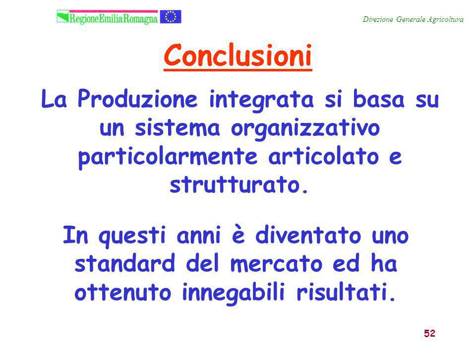 52 La Produzione integrata si basa su un sistema organizzativo particolarmente articolato e strutturato. Direzione Generale Agricoltura Conclusioni In