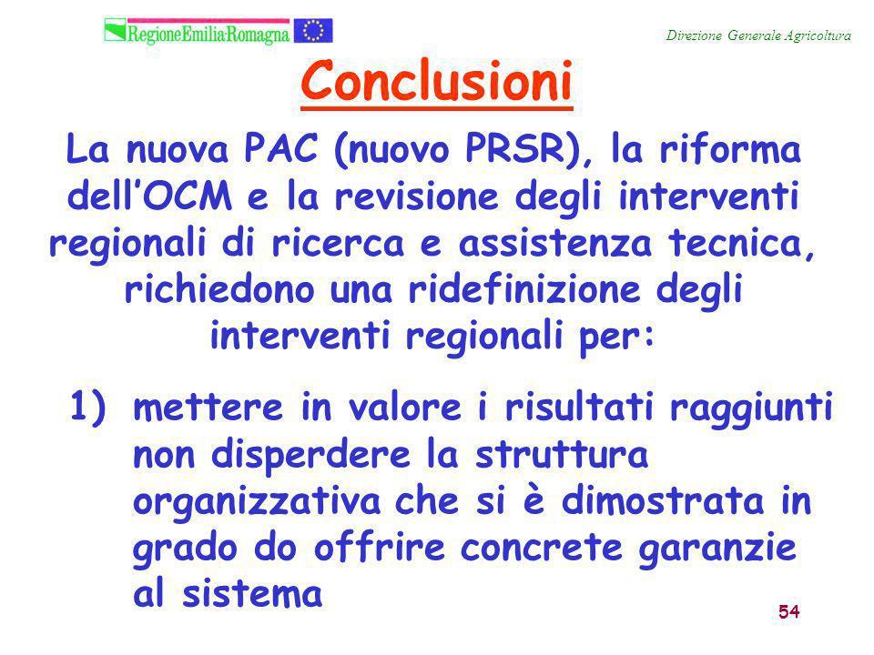 54 La nuova PAC (nuovo PRSR), la riforma dell'OCM e la revisione degli interventi regionali di ricerca e assistenza tecnica, richiedono una ridefinizi