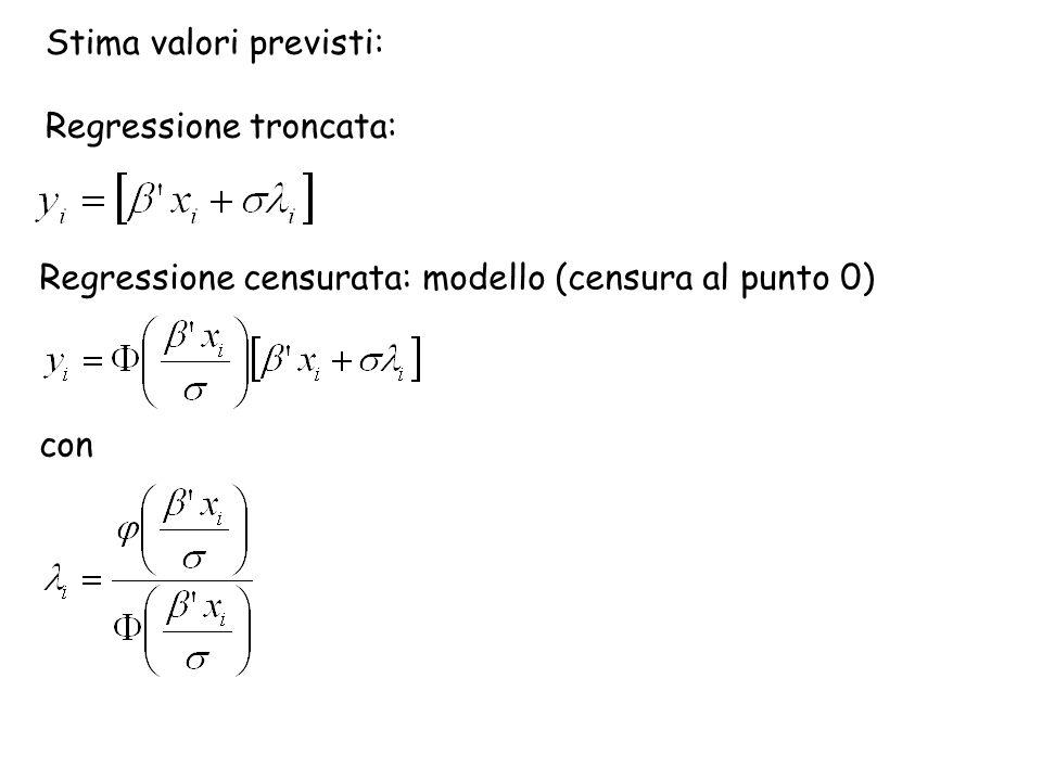 Stima valori previsti: Regressione troncata: Regressione censurata: modello (censura al punto 0) con