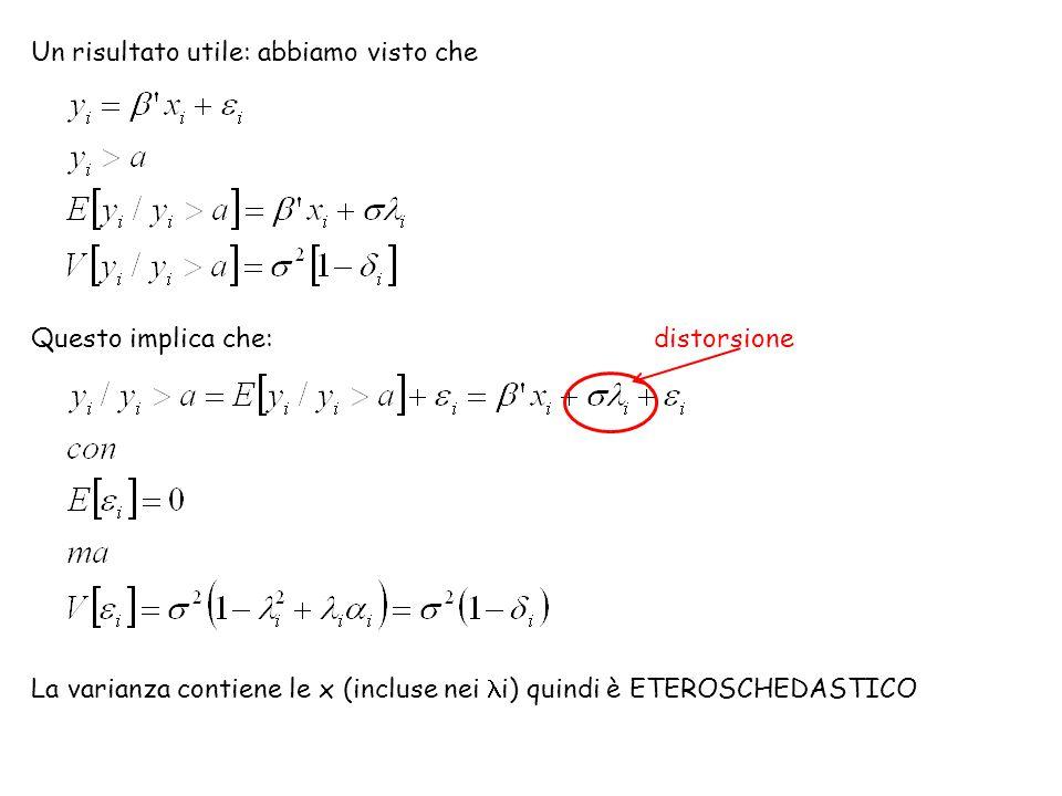 Un risultato utile: abbiamo visto che Questo implica che: distorsione La varianza contiene le x (incluse nei i) quindi è ETEROSCHEDASTICO