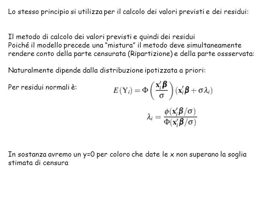 Lo stesso principio si utilizza per il calcolo dei valori previsti e dei residui: Il metodo di calcolo dei valori previsti e quindi dei residui Poiché il modello precede una mistura il metodo deve simultaneamente rendere conto della parte censurata (Ripartizione) e della parte ossservata: Naturalmente dipende dalla distribuzione ipotizzata a priori: Per residui normali è: In sostanza avremo un y=0 per coloro che date le x non superano la soglia stimata di censura