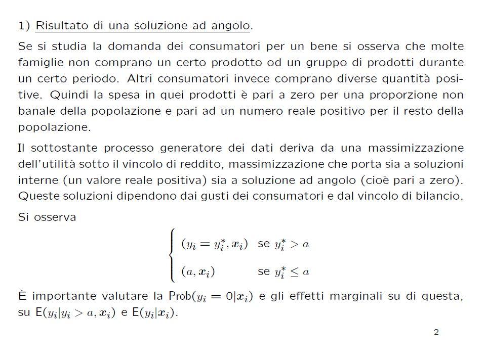 Una soluzione d'angolo y1y1 y2y2 0 B Di solito la scelta del consumatore è identificata dal punto di tangenza tra retta del bilancio e curva di indifferenza.