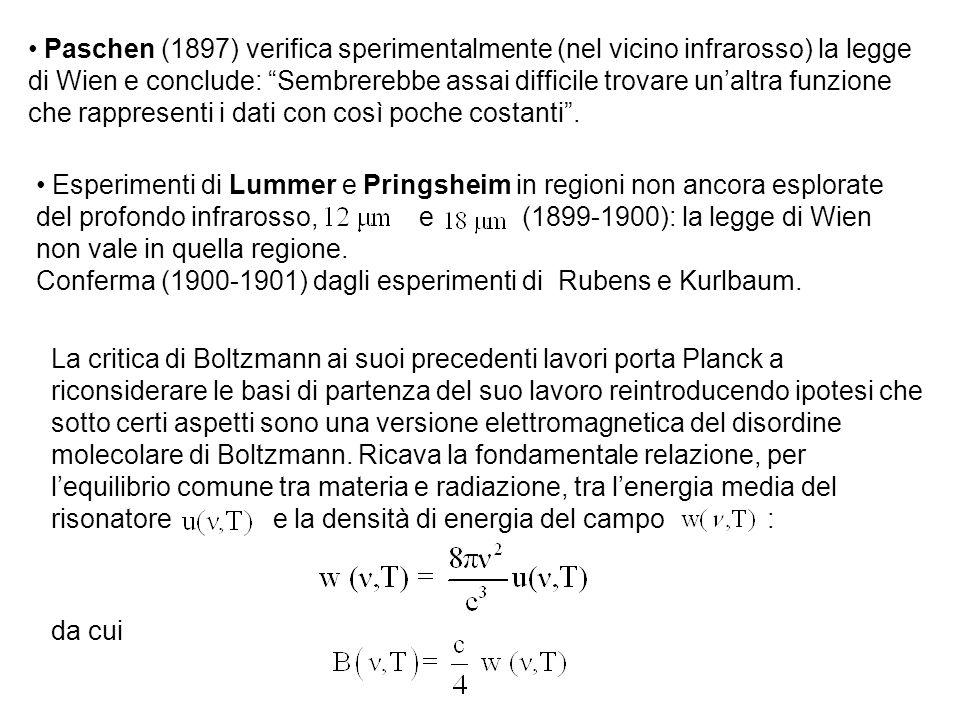 """Paschen (1897) verifica sperimentalmente (nel vicino infrarosso) la legge di Wien e conclude: """"Sembrerebbe assai difficile trovare un'altra funzione c"""