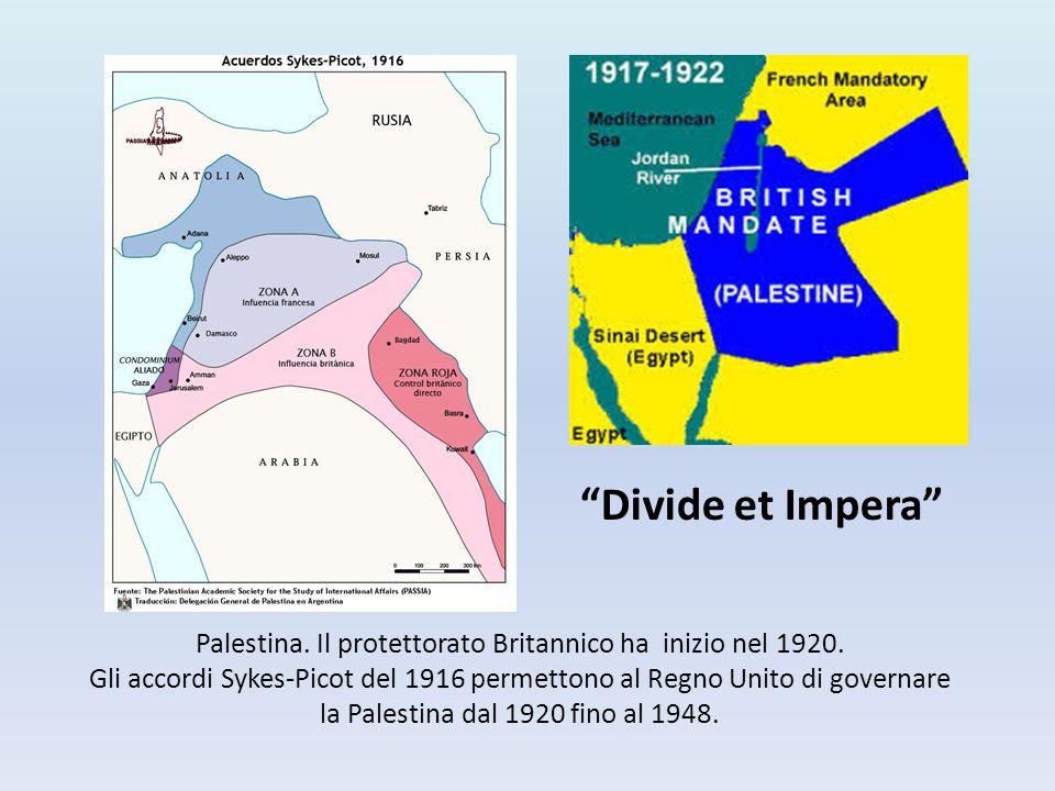 Palestina. Il protettorato Britannico ha inizio nel 1920. Gli accordi Sykes-Picot del 1916 permettono al Regno Unito di governare la Palestina dal 192
