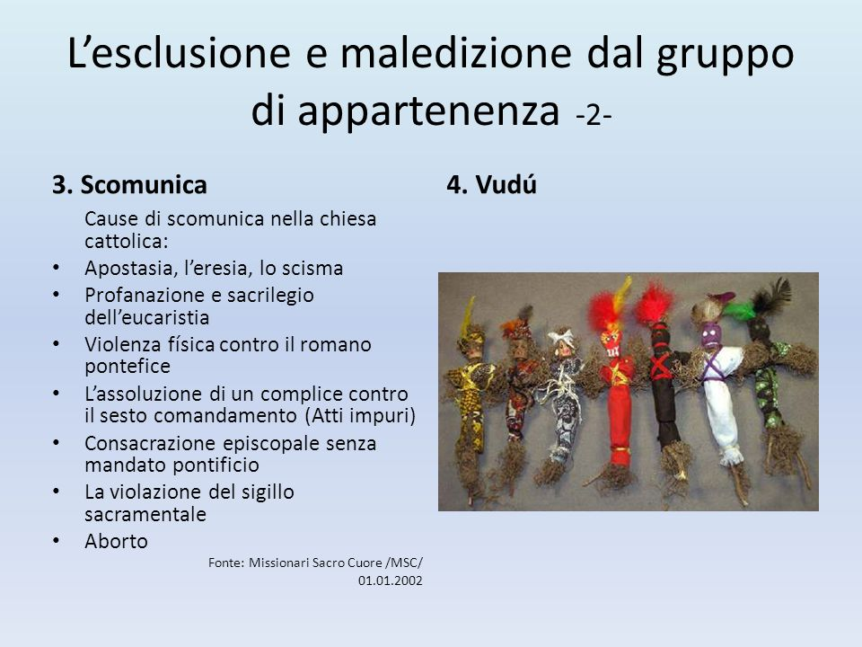 L'esclusione e maledizione dal gruppo di appartenenza -2- 3. Scomunica Cause di scomunica nella chiesa cattolica: Apostasia, l'eresia, lo scisma Profa