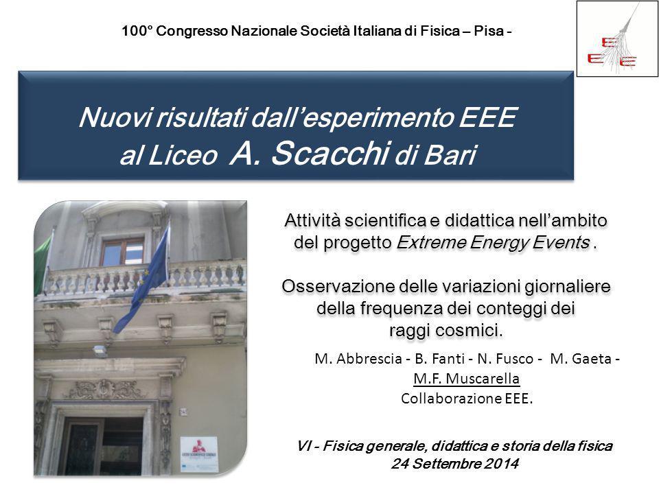 Nuovi risultati dall'esperimento EEE al Liceo A. Scacchi di Bari Nuovi risultati dall'esperimento EEE al Liceo A. Scacchi di Bari 100° Congresso Nazio