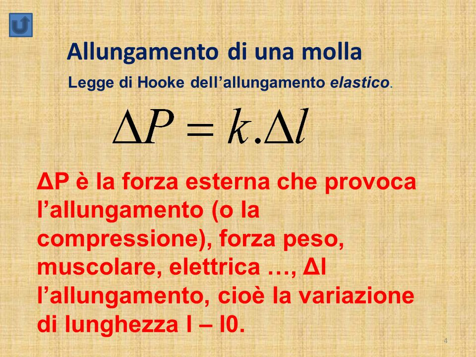 4 Allungamento di una molla ΔP è la forza esterna che provoca l'allungamento (o la compressione), forza peso, muscolare, elettrica …, Δl l'allungamento, cioè la variazione di lunghezza l – l0.