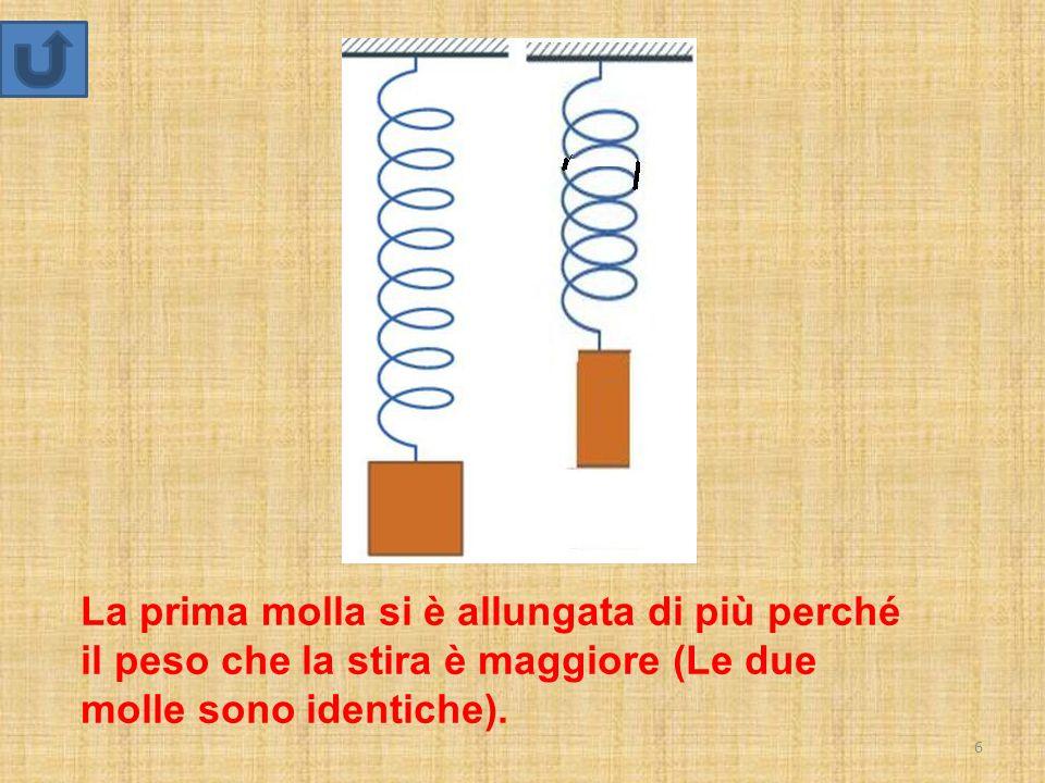 6 La prima molla si è allungata di più perché il peso che la stira è maggiore (Le due molle sono identiche).