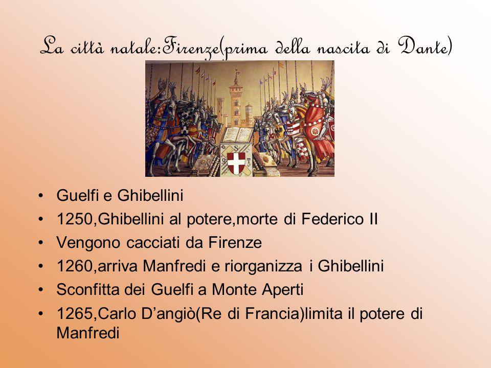 …dopo la sua nascita 1266 Manfredi perde la vita a Benevento(Ghibellini in esilio) I guelfi rientrano a Firenze DIVISIONE TRA: Guelfi Bianchi(tra i quali Dante,sosteneva che il papato doveva occuparsi solo dell sfera religiosa) Guelfi Neri(che sostenevano che il papa dovesse eleggere l'imperatore e che quindi avesse anche compiti politici) Dante contro Papa Bonifacio VIII 1301,Dante viene chiamato dal papa a Roma A Firenze arriva Carlo di Valois.Compito ufficiale:Portare la pace tra Guelfi bianchi e Guelfi neri.Compito ufficioso:accentramento del potere nelle mani dei Guelfi neri 1303:Dante in esilio 1315,offerta da parte della città natale di ritornare in patria Dante rifiuta,esilio a vita per lui e la sua famiglia Durante l'esilio viene ospitato da Can grande della Scala,a Verona,e da Guido Novello,a Ravenna(qui morì nel 1321)