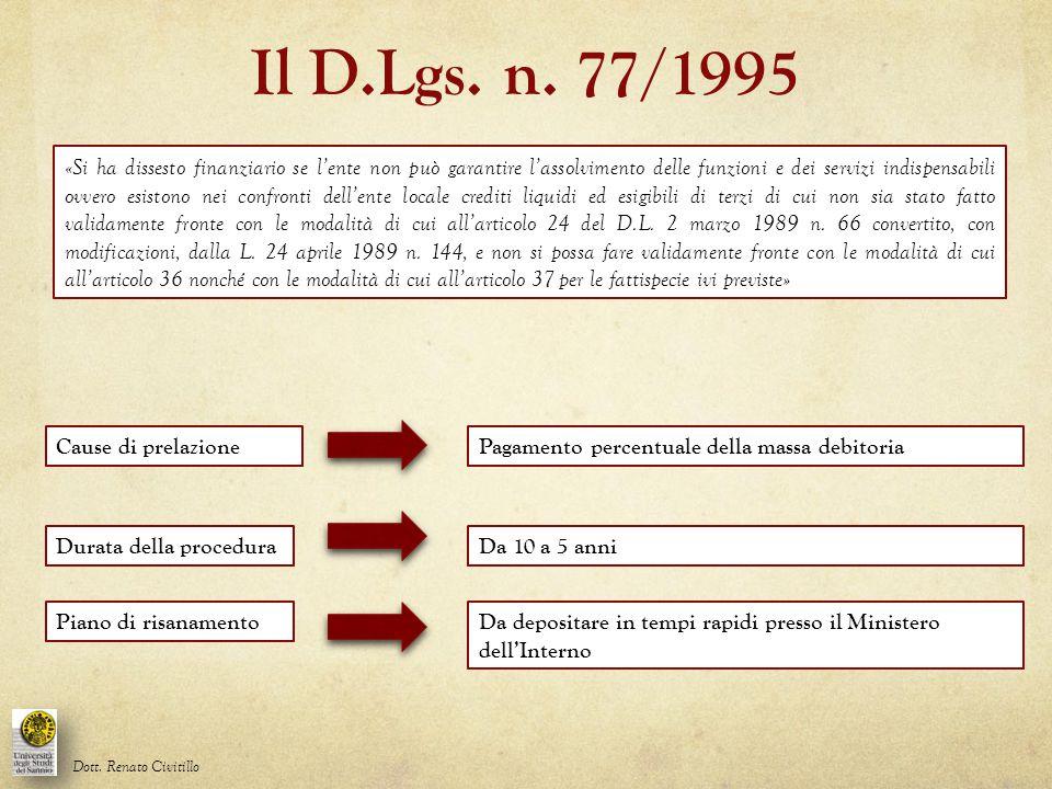 Il D.Lgs. n. 77/1995 Dott. Renato Civitillo Pagamento percentuale della massa debitoriaCause di prelazione Durata della proceduraDa 10 a 5 anni «Si ha