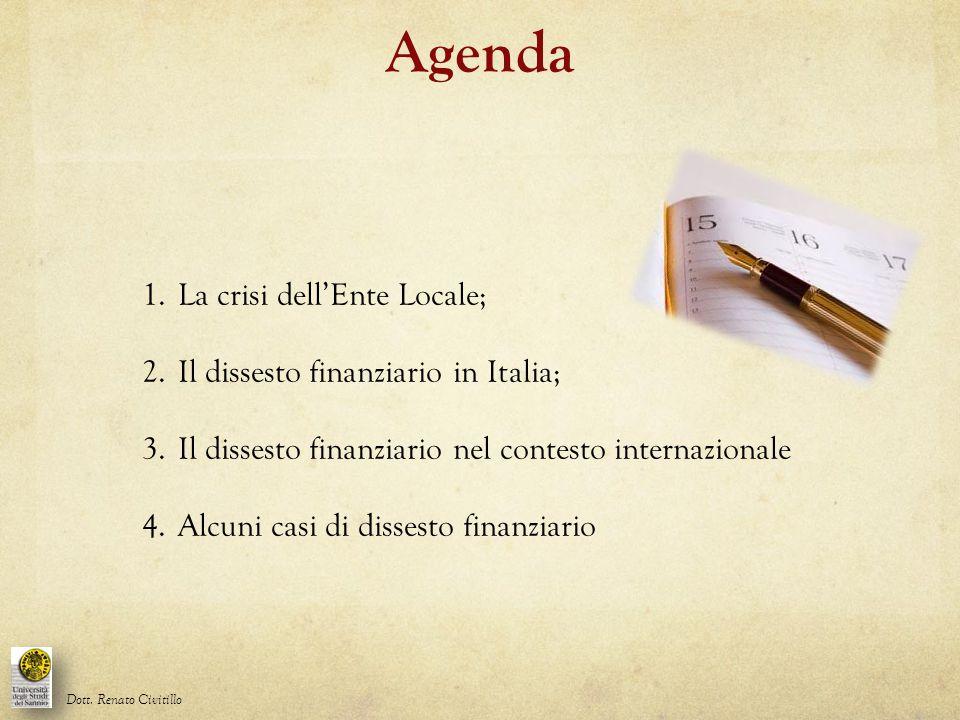Agenda 1.La crisi dell'Ente Locale; 2.Il dissesto finanziario in Italia; 3.Il dissesto finanziario nel contesto internazionale 4.Alcuni casi di disses