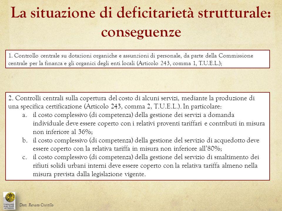 La situazione di deficitarietà strutturale: conseguenze Dott. Renato Civitillo 1. Controllo centrale su dotazioni organiche e assunzioni di personale,