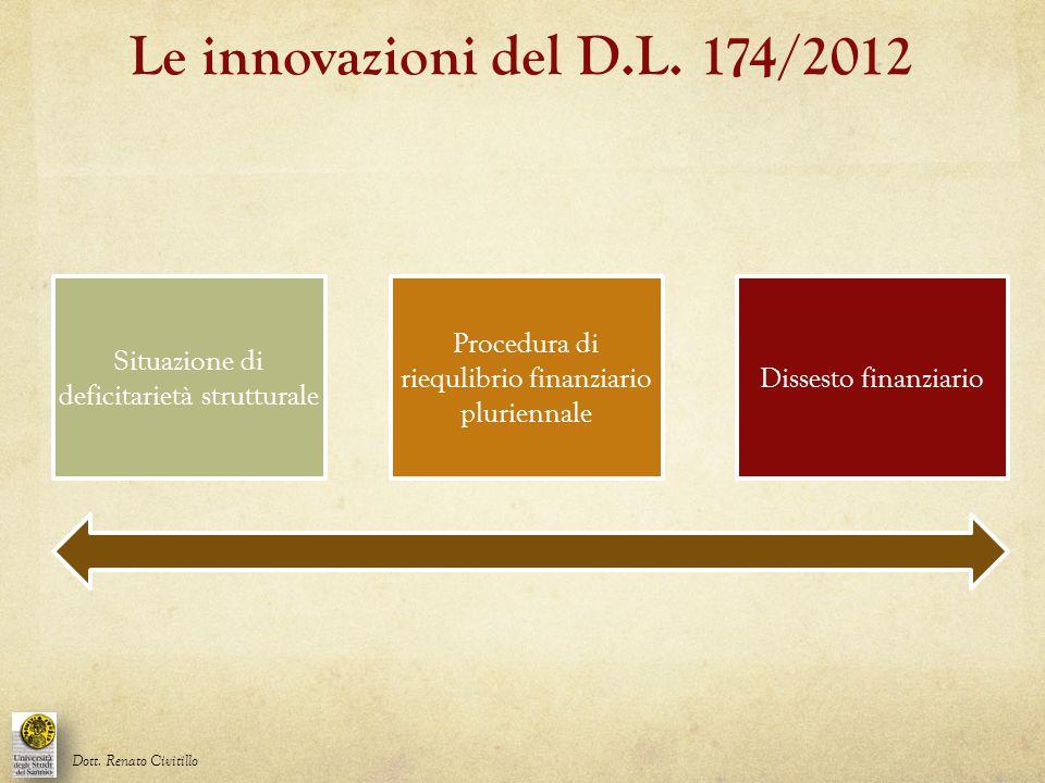 Le innovazioni del D.L. 174/2012 Situazione di deficitarietà strutturale Dott. Renato Civitillo Procedura di riequlibrio finanziario pluriennale Disse