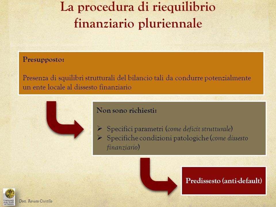 La procedura di riequilibrio finanziario pluriennale Dott. Renato Civitillo Presupposto: Presenza di squilibri strutturali del bilancio tali da condur