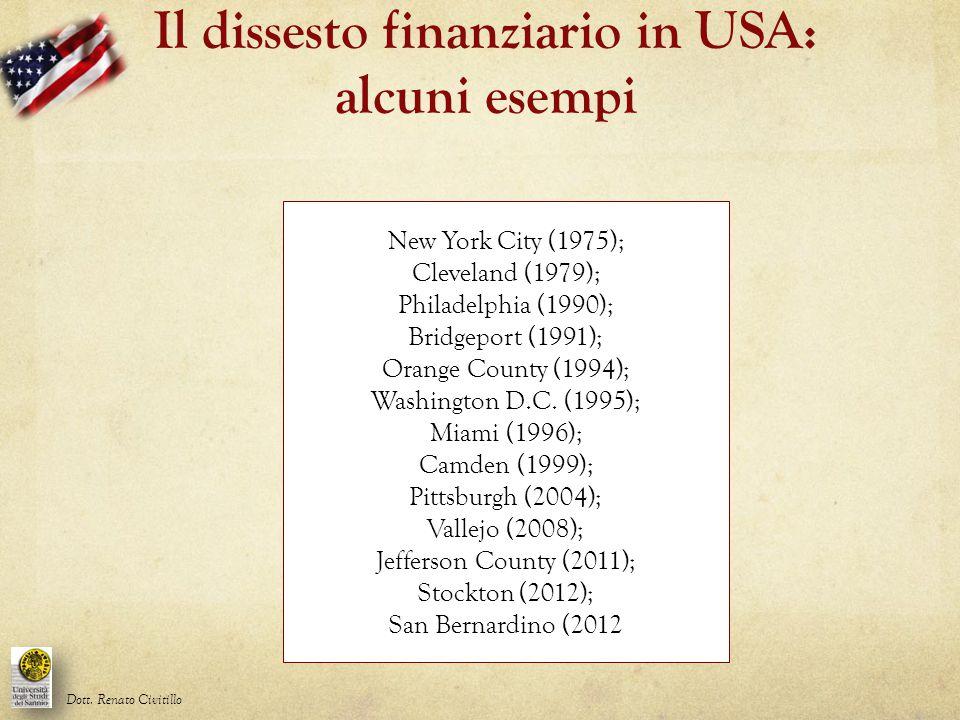 Il dissesto finanziario in USA: alcuni esempi Dott. Renato Civitillo New York City (1975); Cleveland (1979); Philadelphia (1990); Bridgeport (1991); O
