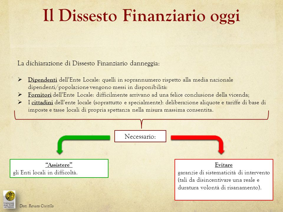 Il Dissesto Finanziario oggi La dichiarazione di Dissesto Finanziario danneggia:  Dipendenti dell'Ente Locale: quelli in soprannumero rispetto alla m