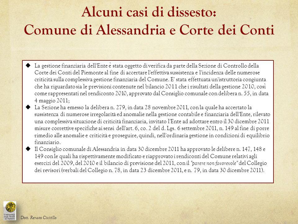  La gestione finanziaria dell'Ente e ̀ stata oggetto di verifica da parte della Sezione di Controllo della Corte dei Conti del Piemonte al fine di ac