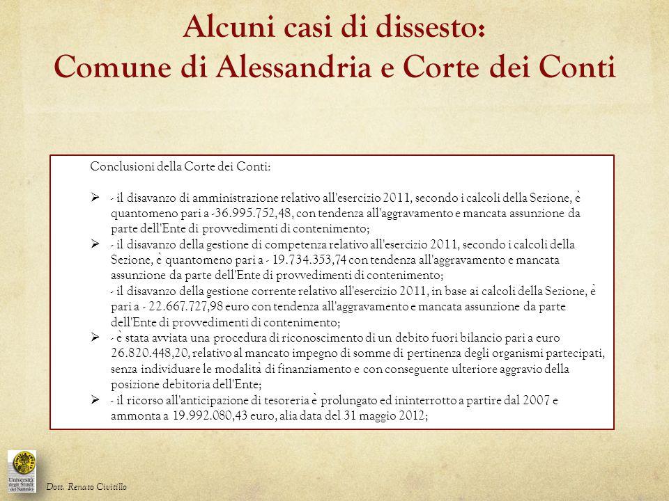 Conclusioni della Corte dei Conti:  - il disavanzo di amministrazione relativo all'esercizio 2011, secondo i calcoli della Sezione, e ̀ quantomeno pa