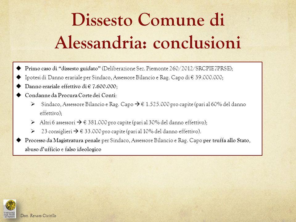 """Dissesto Comune di Alessandria: conclusioni  Primo caso di """"dissesto guidato"""" (Deliberazione Sez. Piemonte 260/2012/SRCPIE7PRSE);  Ipotesi di Danno"""