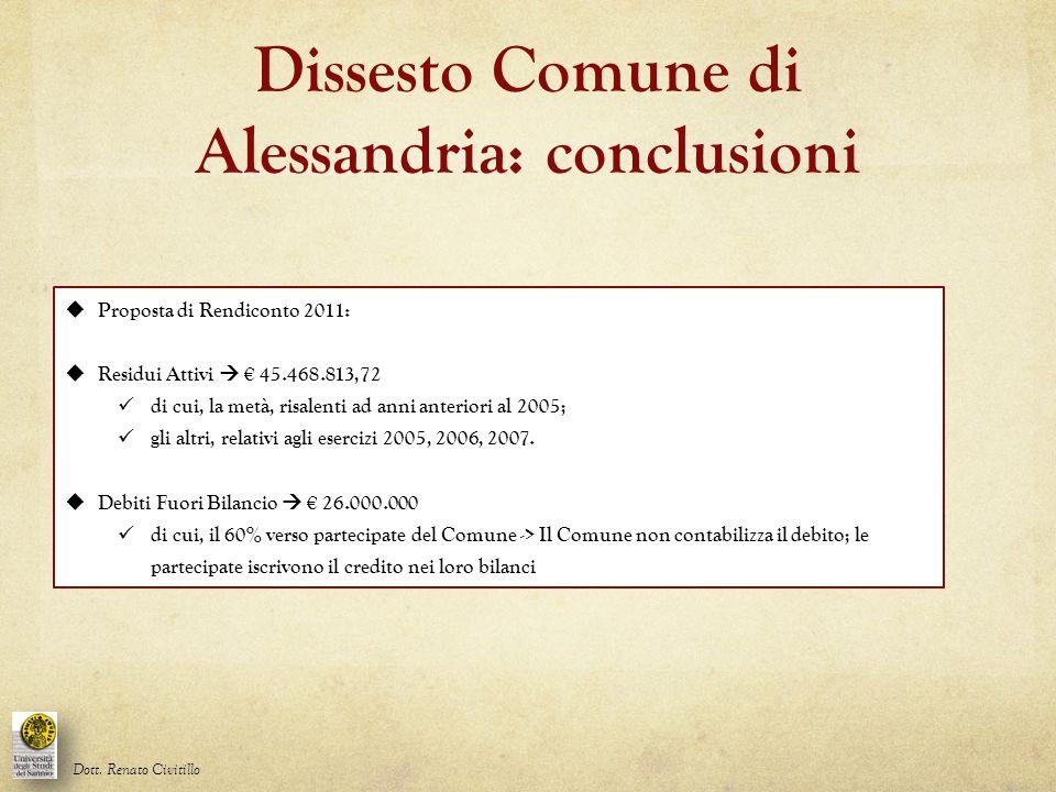 Dissesto Comune di Alessandria: conclusioni Dott. Renato Civitillo  Proposta di Rendiconto 2011:  Residui Attivi  € 45.468.813,72 di cui, la metà,