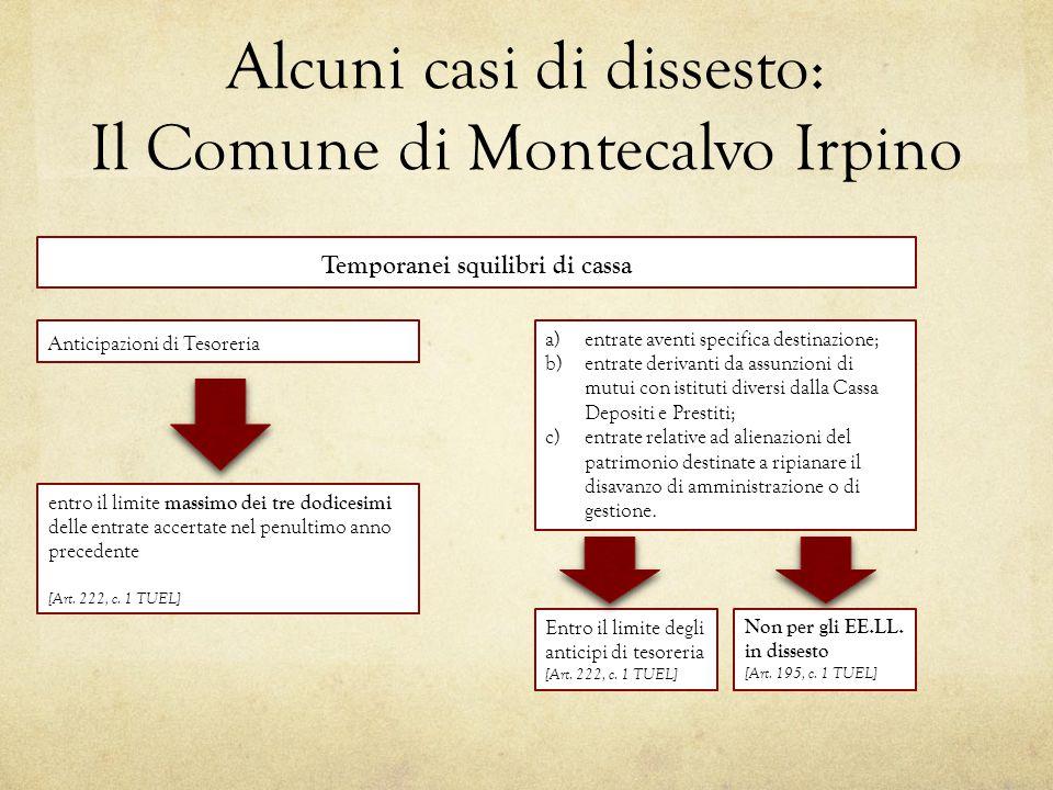 Alcuni casi di dissesto: Il Comune di Montecalvo Irpino Anticipazioni di Tesoreria entro il limite massimo dei tre dodicesimi delle entrate accertate