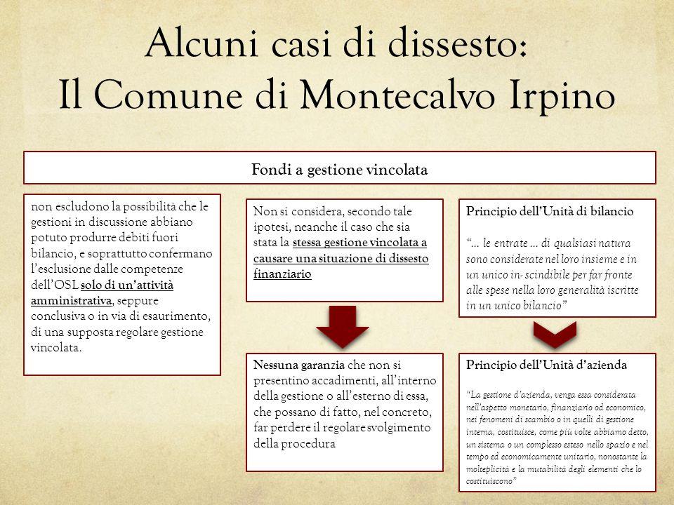 Alcuni casi di dissesto: Il Comune di Montecalvo Irpino non escludono la possibilità che le gestioni in discussione abbiano potuto produrre debiti fuo