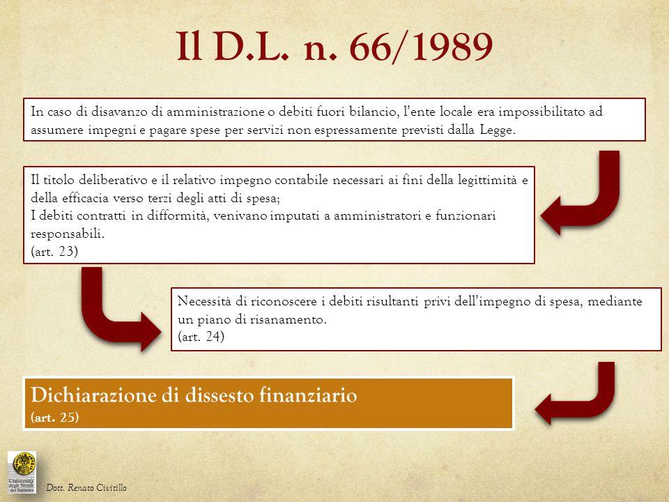 Il D.L. n. 66/1989 In caso di disavanzo di amministrazione o debiti fuori bilancio, l'ente locale era impossibilitato ad assumere impegni e pagare spe