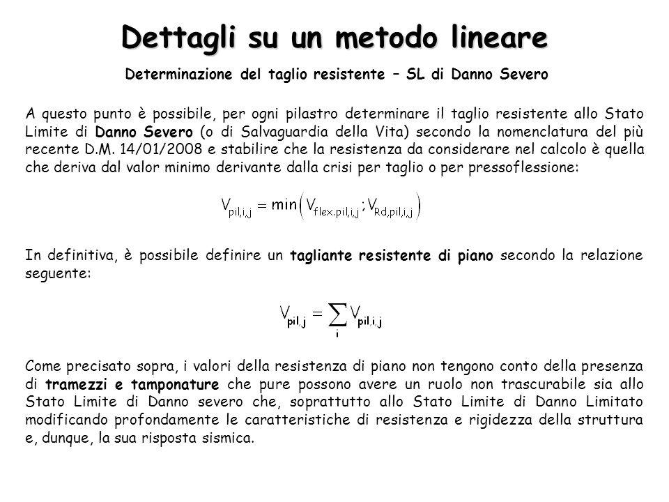 Dettagli su un metodo lineare Determinazione del taglio resistente – SL di Danno Severo A questo punto è possibile, per ogni pilastro determinare il t