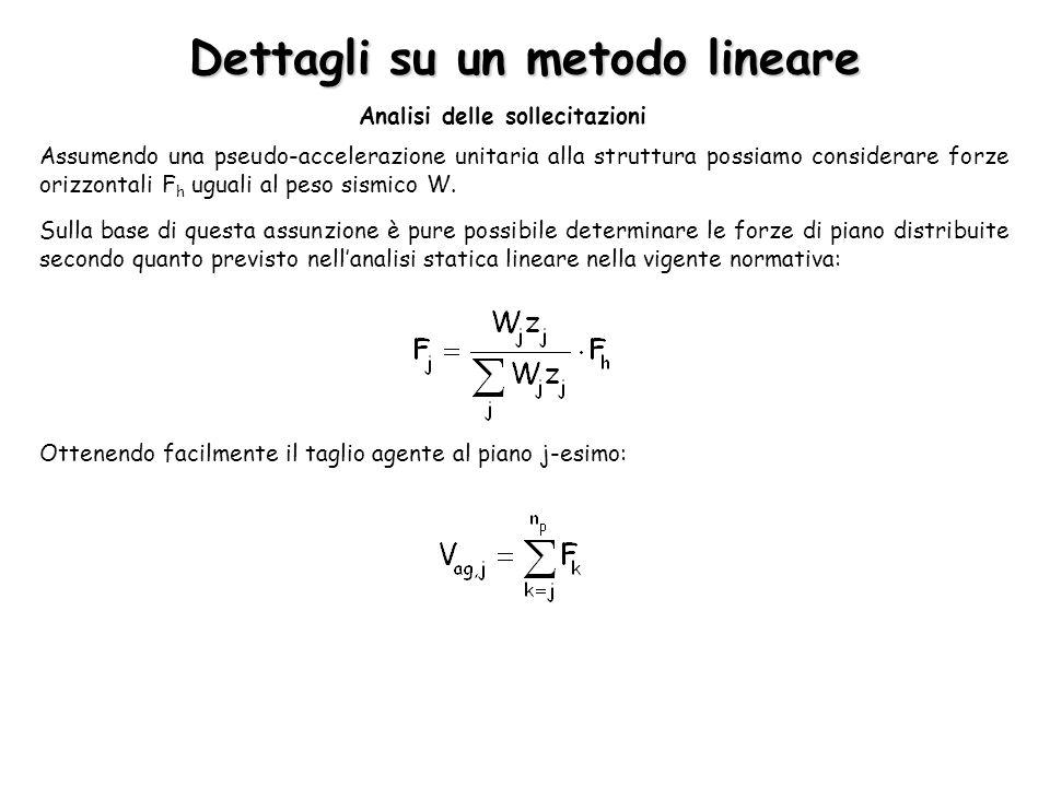 Dettagli su un metodo lineare Analisi delle sollecitazioni Assumendo una pseudo-accelerazione unitaria alla struttura possiamo considerare forze orizz