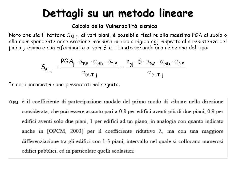 Dettagli su un metodo lineare Calcolo della Vulnerabilità sismica Noto che sia il fattore S SL,j ai vari piani, è possibile risalire alla massima PGA