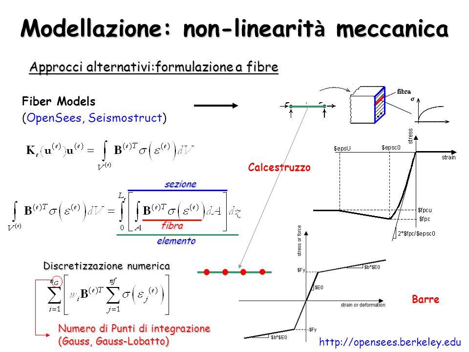 Modellazione: non-linearit à meccanica Approcci alternativi:formulazione a fibre Fiber Models (OpenSees, Seismostruct) Calcestruzzo Barre fibra sezion