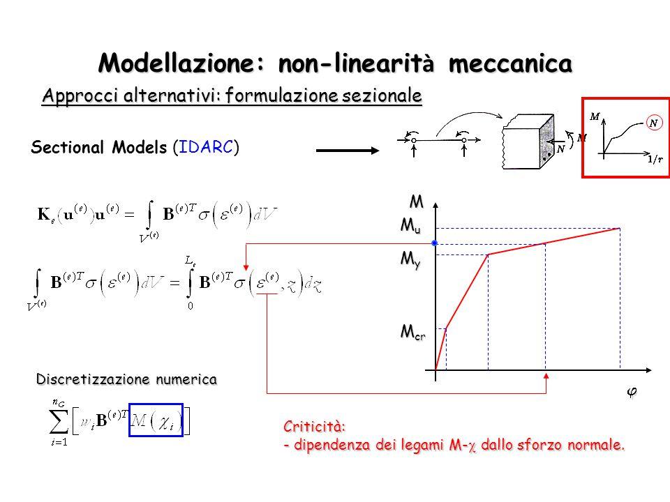 Modellazione: non-linearit à meccanica Approcci alternativi: formulazione sezionale Discretizzazione numerica Sectional Models (IDARC) M  M cr MyMyMy