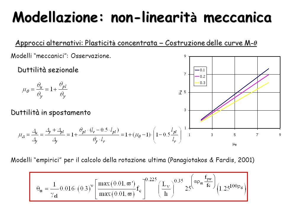 """Modellazione: non-linearit à meccanica Approcci alternativi: Plasticit à concentrata – Costruzione delle curve M-  Modelli """"empirici"""" per il calcolo"""