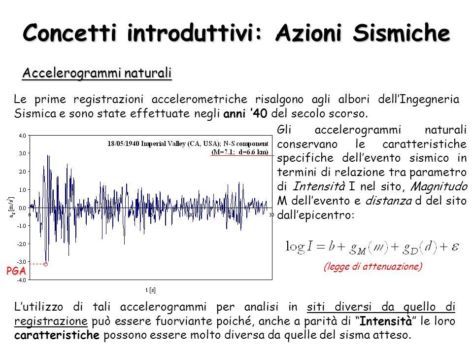 Concetti introduttivi: Azioni Sismiche Accelerogrammi naturali Le prime registrazioni accelerometriche risalgono agli albori dell'Ingegneria Sismica e