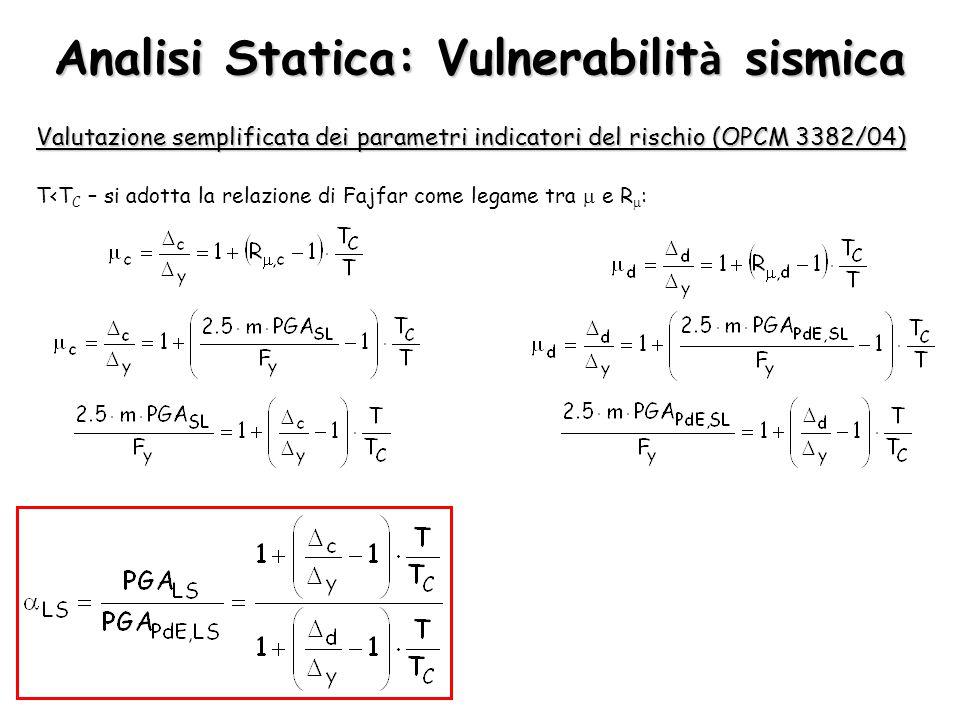 Analisi Statica: Vulnerabilit à sismica T<T C – si adotta la relazione di Fajfar come legame tra  e R  : Valutazione semplificata dei parametri indi