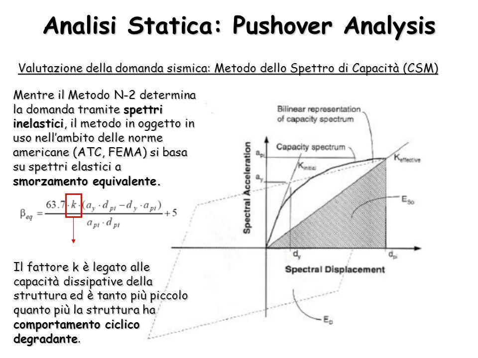Analisi Statica: Pushover Analysis Valutazione della domanda sismica: Metodo dello Spettro di Capacità (CSM) Mentre il Metodo N-2 determina la domanda